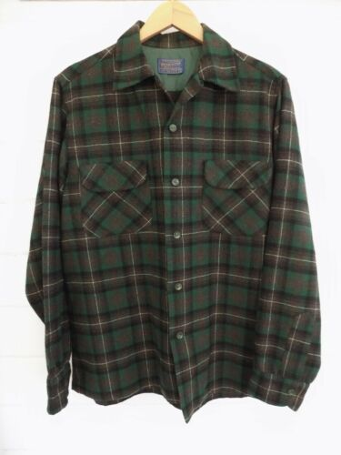 PENDLETON Vintage 100% Wool Board Shirt Dark Brown/Green Plaid - Sz. M