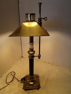 "Vintage Brass Candlestick table lamp adjustable height square shade 21"" tall"