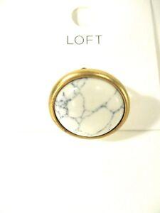 Ann Taylor LOFT Metallic White Marble Round Ring Sz 6 NWT $22.50