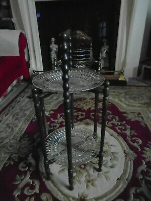 vintage 2 tier wood and glass plates cake stand