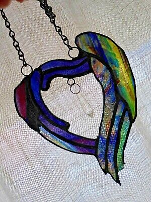 STAINED GLASS HEART, SUN-CATCHER, PURPLES, BLUES, CRYSTAL,HANG CHAIN