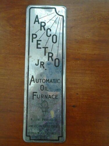 ARCO-PETRO JR. AUTOMATIC OIL FURNANCE METAL SIGN