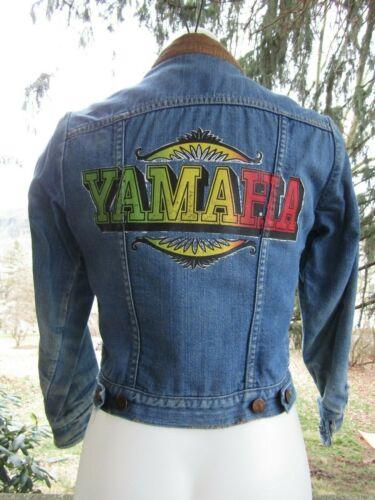 Vintage 1970s Blue Bell Maverick Fleece Lined Yamaha Blue Jean Jacket Size 14 #1