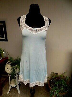 Honeydew Light Blue Rayon Blend White Lace Trim Short Nightgown S