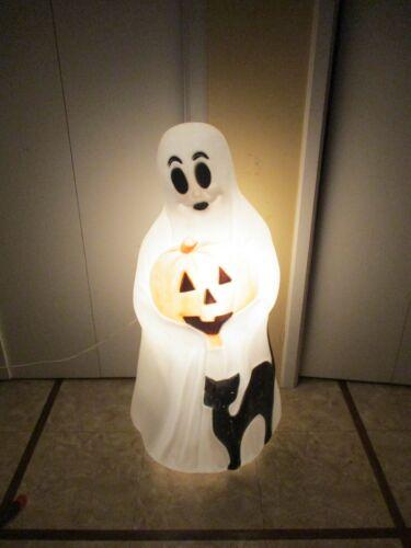 Vtg Spooky Sheet Ghost w/ Pumpkin & Black Cat Lighted Halloween Blow Mold Empire