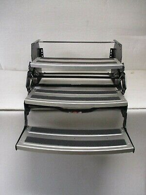 "Hickory Springs Aluminum Tread RV Triple Step 7"" Rise Manual Fold 3 Steps Camper"