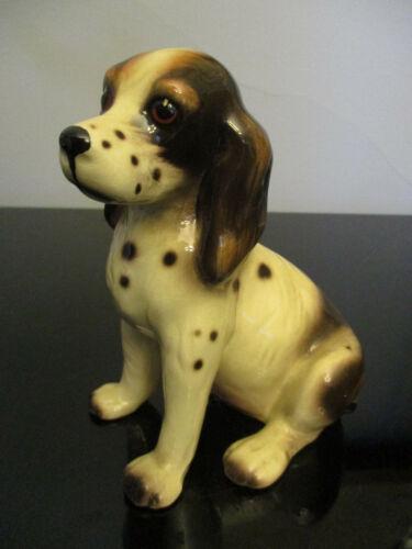 Vintage Erphila German Porcelain Seated Springer Spaniel Puppy Dog Figurine!