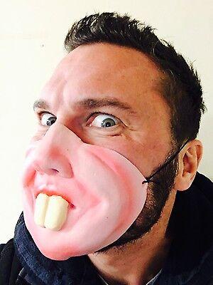 Lustig Halbes Gesicht Groß Zähne Maske Hase Buck Kostüm Junggesellenabschied