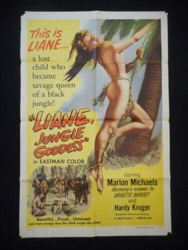 LIANE JUNGLE GODDESS 1958 Orig One Sheet Poster 1sh Sexy Marion Michael Bad Girl