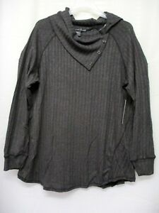 French Laundry Women's Plus Size Long Sleeve Button Cowlneck Tunic T-Shirt 1X