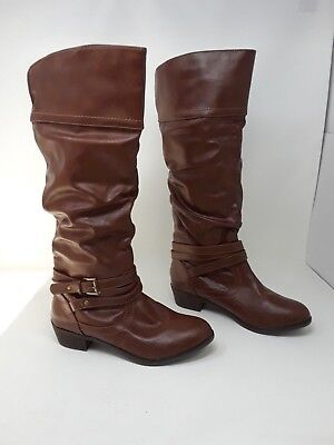 New w/defect Women's Bongo Peyton 20409 Slouch Knee-High Fashion Boots Brown