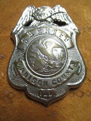 Antique Original Madison County Illinois Sheriff Deputy Badge S.G. Adams Hmrk