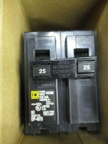 SQUARE D HOM225, (1) 25 Amp, 240 Volt, 2 Pole Circuit Breaker- NEW