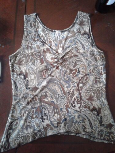 Women's Sleeveless Assymetrica Brownl Paisley V-neck Top ~ Petites L