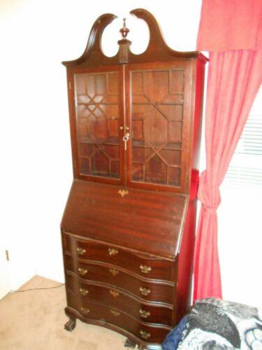 Chippendale Mahogany Secretary Desk w/ Bookcase Top