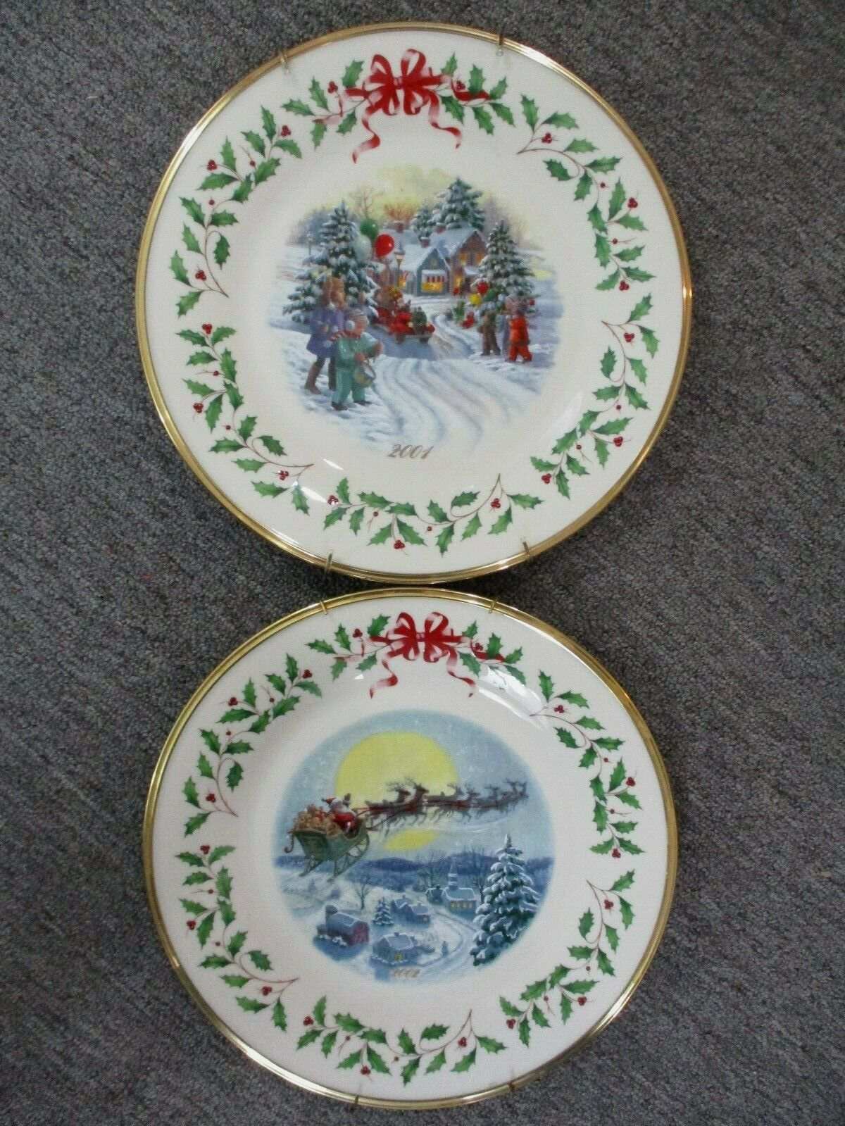 Lenox Annual Holiday Collectors Christmas Plates 2001 And 2002