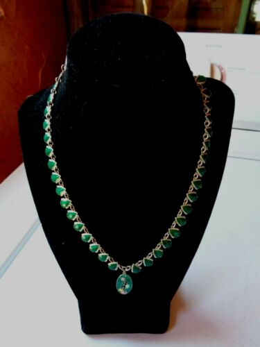 Vintage DEco Sterling Silver Green Enamel Harlequin Bubbles Necklace