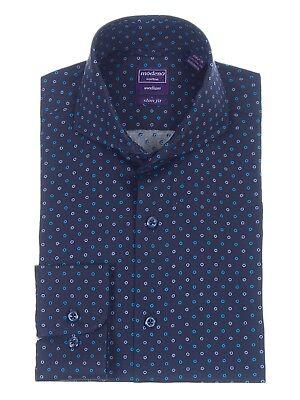 Mens Regular Fit Navy Blue Circle Dot Pattern Cutaway Collar Cotton Dress Shirt Cotton Dotted Pattern Dress Shirt
