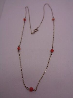 SILVER AND PINK CORAL NECKLACE DELICATE WEDDING PARTY PROM