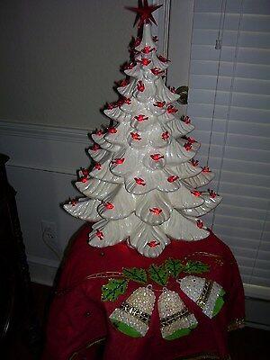 """Large 24"""" Vintage Atlantic White Ceramic Christmas Tree w/ Red BIRD lights RARE"""