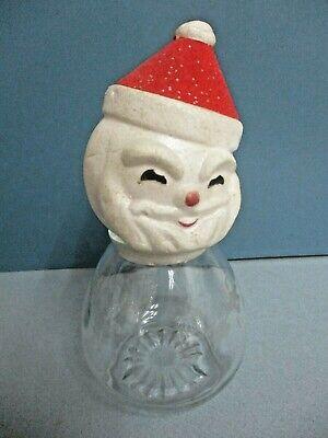 Vintage Glass Christmas Candy Jar Santa With Styrofoam Head Japan