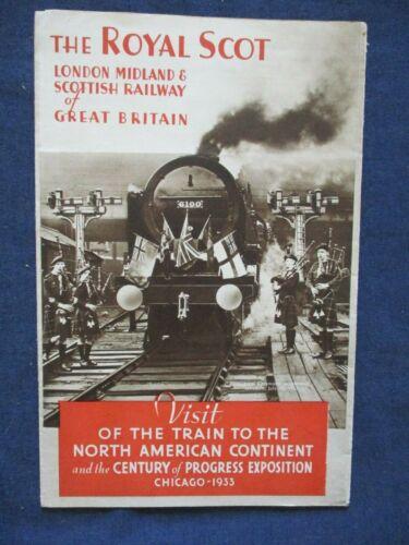 1933 Chicago Century of Progress Royal Scot LM&S Railway Train Exhibit Brochure