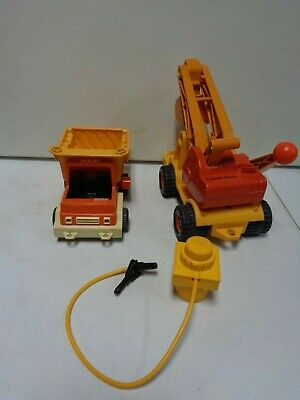 2 1970's Fisher Price dump truck and excavator