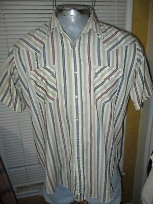 (Ely Plains Brand Striped Pearl Snap Shirt XL Western Vintage Rockabilly)