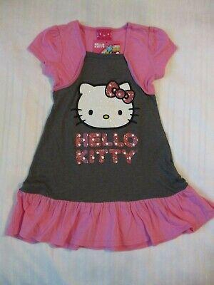 GIRLS HELLO KITTY SZ 5 SHORT SLEEVE DRESS PINK GRAY WHITE SPARKLE DESIGN COTTON