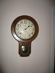 Elgin Wooden  Quartz Clock With Pendulum