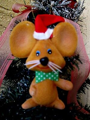 VINTAGE FLOCKED BROWN MOUSE HUGE EARS &BOW TIE&RED SANTA HAT XMAS ORNAMENT/DECO