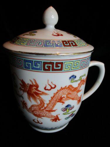 """VINTAGE CHINESE JINGDEZHEN FENCAL PORCELAIN LIDDED TEA MUG ORANGE DRAGON 3 5/8"""""""