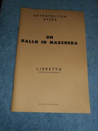 1957 METROPOLITAN OPERA UN BALLO IN MASCHERA Verdi Opera G Shirmer