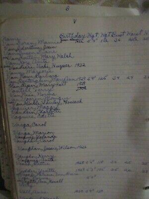 Old VERY WEIRD Notebook Lists 100s Women, Actresses, Measurements, etc, LOOK