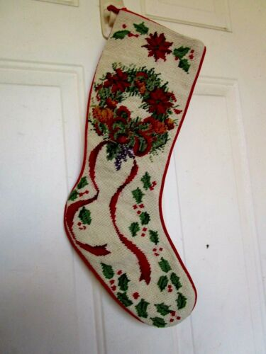 VINTAGE NEEDLEPOINT POINSETTIA WREATH WITH HOLLY&BERRIES & RIBBONS XMAS STOCKING
