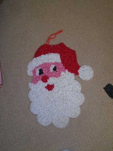 VINTAGE MELTED PLASTIC POPCORN Christmas Santa decoration