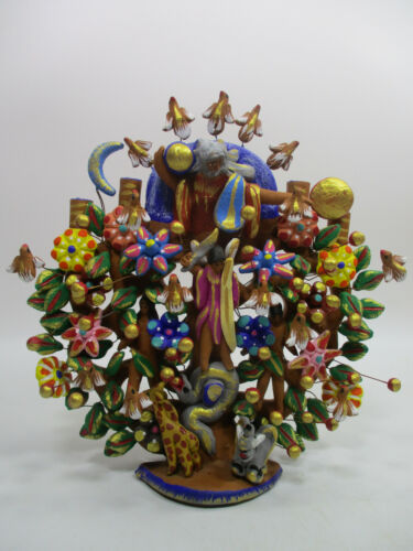 "12"" tall TREE OF LIFE XL large mexican handmade folk art clay pottery"
