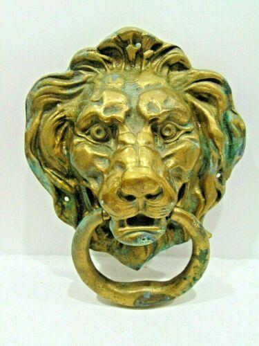 LARGE vintage brass LION HEAD DOOR KNOCKER architectural salvage KING OF CASTLE