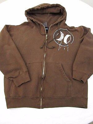Hurley Mens Zip Hoodie Long Sleeve Brown Size Small