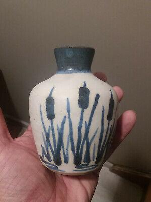 Antique Canadian Pottery Vase Original Vintage Ceramic Cattails Canada Woodleigh