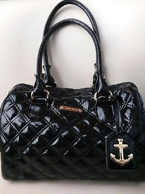 ANNE KLEIN Black Glossy Quilted Small - Medium Satchel Tote Purse Bag HiddenJuel