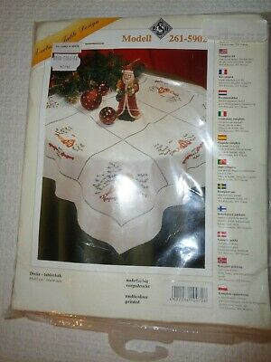 Christmas Embroidery Tablecloth (NEW TABLE TOPPER TABLECLOTH ESH CHRISTMAS HAND EMBROIDERY COMPLETE KIT)