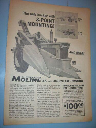 VINTAGE  MINNEAPOLIS MOLINE ADVERTISING -M 5 TRACTOR & CORN PICKER -1962
