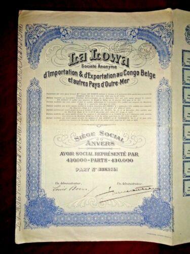 La Lowa , Belgian Congo Share certificate 1928   VG+