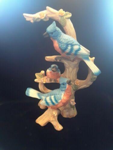 Blue Jay Porcelain Bisque with Baby Bird Figurine