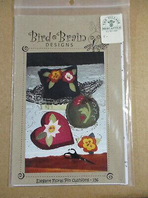 Bird Brain Designs Elegant Floral Pin Cushions Cross Stitch Chart HTF!