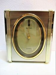 Vintage Seiko Clock Silver & Gold Desk Shelf Mantel QEJ143S Brass Quartz