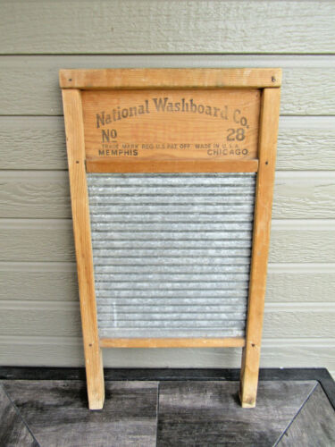 Vintage Wash-Rite National Washboard Co. No. 28 Galvanized Metal and Wood