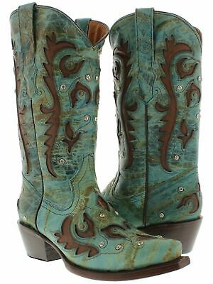 Womens Turquoise Inlay Western Cowgirl Boots Distressed Leather Snip Toe (Turquoise Cowboy Boots)