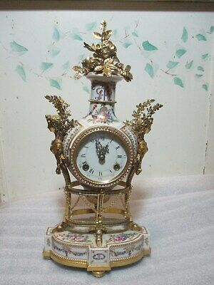 RARE Marie Antoinette Mantel Shelf Clock Fine Porcelain & Simulated Bronze